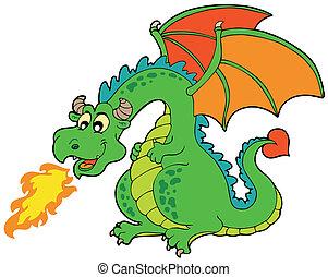 Dragón de fuego de dibujos animados