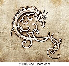 dragón, decorativo, bosquejo, arte, tatuaje