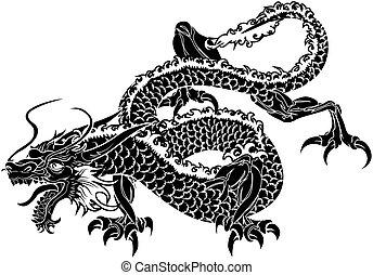 dragón, japonés, ilustración