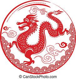 dragón, nuevo, chino, año