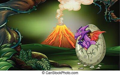 Dragón Púrpura incubando huevos en el bosque profundo