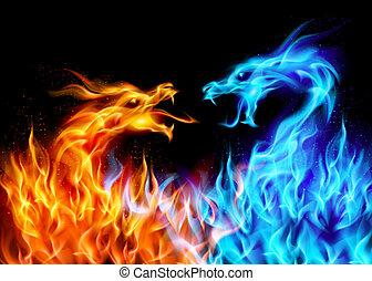 Dragones de fuego azul y rojo