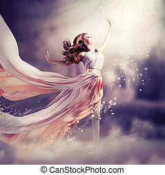 dress., niña, llevando, gasa, fantasía, escena, largo, hermoso