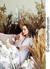 dress., pelo, style., foto, blanco, estudio, largo, cereals., moda, niña