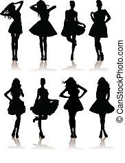 dress., vario, modelo, ilustración, conjunto, niñas, vector, dama, hermoso