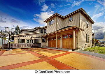 driveway., lujo, naranja, nuevo, exterior, grande, rojo, hogar