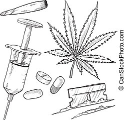 drogas, ilegal, bosquejo, objetos