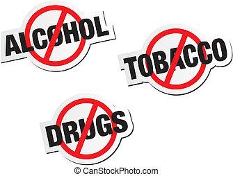 drogas, pegatina, señales