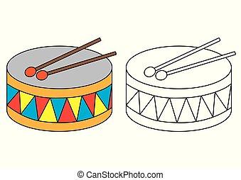 Drum. Página de color. Juego educativo para niños de preescolar.