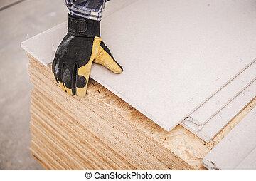 drywall, madera contrachapada, materiales, edificio