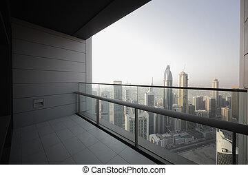 dubai, rascacielos, balcón