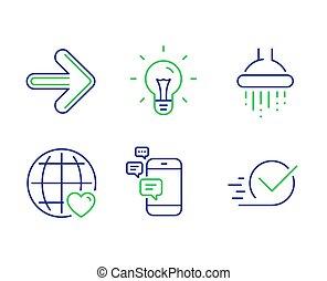 ducha, comunicación, amor, internacional, iconos, vector, luego, checkbox, set., idea, signs.
