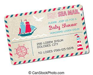 Ducha de bebé o postal de llegada - temática marina náutica - en vector