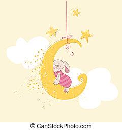 Ducha de bebé o tarjeta de llegada, conejito durmiente en vector