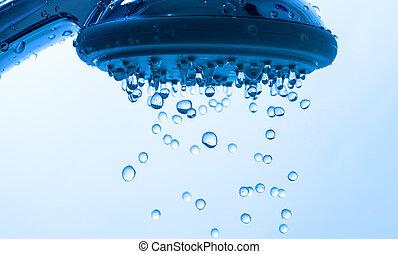 ducha, gotita, cabeza, agua