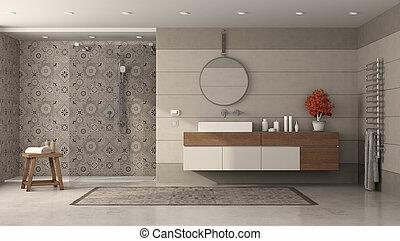 ducha, moderno, lavabo, cuarto de baño