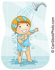 ducha, niño