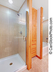 ducha, nuevo, cuarto de baño, tina, armario