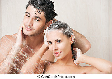 ducha, pareja