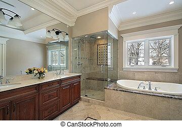 ducha, vidrio, maestro, baño