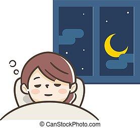 duerme, cómodamente, mujer joven