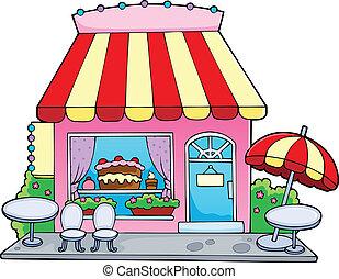 dulce, caricatura, tienda