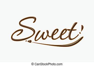 dulce, chocolate, texto