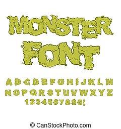 dulce, horrible, letters., cartas, green., abc, alfabeto, repugnante, font., ser, monstruo, terrible, espantoso