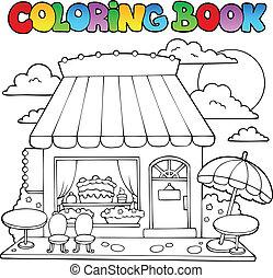 dulce, libro colorear, tienda, caricatura