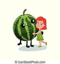Dulce niña abrazando a un personaje de sandía gigante sonriente, mejores amigos, comida saludable para niños vector de ilustración vectorial