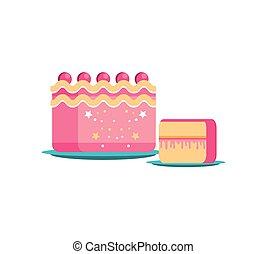 Dulce pastel de cumpleaños con rodajas