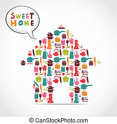 dulce, tarjeta, hogar