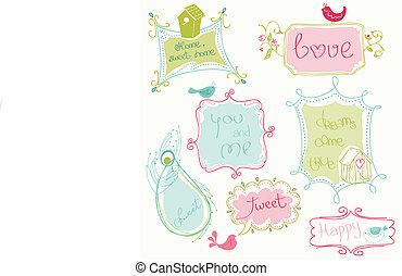 Dulces cuadros de garabatos con aves y casas de pájaros