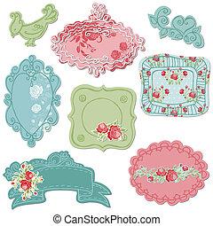 Dulces cuadros de garabatos con aves y elementos florales en vector