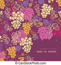 Dulces enredaderas de uvas en un marco de fondo