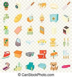 Dulces iconos caseros, estilo de dibujos animados
