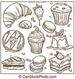 Dulces postres, pasteles y pastelillos de pastelería dibujan iconos.
