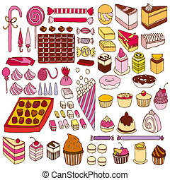 dulces, vector, conjunto