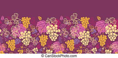 Dulces viñedos de uva, patrones horizontales, bordes de fondo