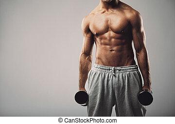 dumbbells, gris, plano de fondo, condición física, modelo, macho