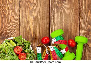dumbells, alimento, encima, sano, cintamétrica, tabla de madera