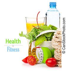Dumbells, cinta métrica y comida saludable. Fitness y salud