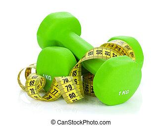 dumbells, dos, salud, measure., condición física, verde, cinta