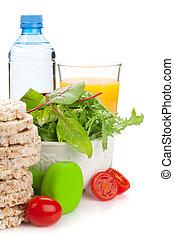 Dumbells y comida saludable. Fitness y salud
