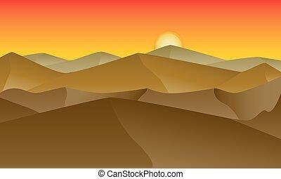 dunas, arena, ocaso, paisaje