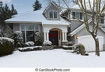durante, exterior, hogar, residencial, invierno