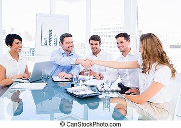 durante, manos, ejecutivos, b, sacudida