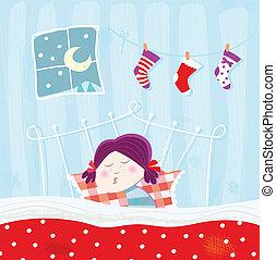 durante, noche, sueño, navidad, niño