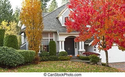 durante, residencial, estación, otoño, hogar