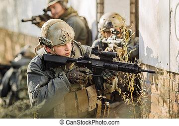 durante, rifles, patrullar, guerra, soldados